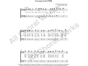 Coventry Carol Male Choir Sheet Music TBB 3-part Make unlimited copies of sheet music and the practice music.