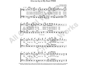 Give me Joy in my heart Male Choir Sheet Music TTBB 4-part Make unlimited copies of sheet music and the practice music.