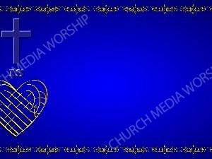 Golden Frame - Heart Cross- Blue Christian Background Images HD