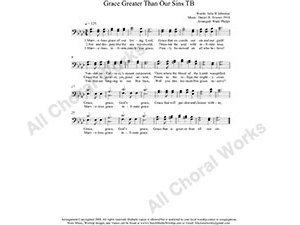 Grace Greater Than All My Sin Male Choir Sheet Music TB 2-part Make unlimited copies of sheet music and the practice music.