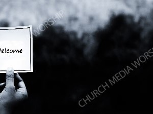 Hand holding note BandW - Welcome Christian Worship Background. High quality worship images for use to spread the Gospel and enhance the worship experience.