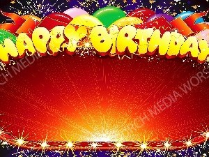 Happy Birthday Frame trim starburst Christian Worship Background. High quality worship images for use to spread the Gospel and enhance the worship experience.