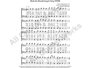 Hark the Herald Angels Sing Male Choir Sheet Music TTBB 4-part Make unlimited copies of sheet music and the practice music.