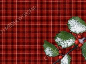 Holly with Snow - Red Checkered paper Christian Worship Background. High quality worship images for use to spread the Gospel and enhance the worship experience.