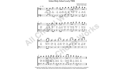 Infant Holy Male Choir Sheet Music TBB 3-part Make unlimited copies of sheet music and the practice music.
