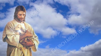Jesus Holding a lamb With Clouds Christian Worship Background. High quality worship images for use to spread the Gospel and enhance the worship experience.