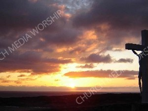 JesusCrossSunset Christian Worship Background. High quality worship images for use to spread the Gospel and enhance the worship experience.