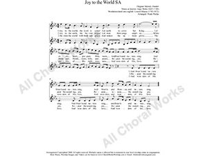 Joy to the World Female Choir Sheet Music SA 2-part Make unlimited copies of sheet music and the practice music.