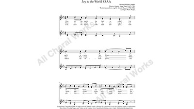 Joy to the World Female Choir Sheet Music SSAA 4-part Make unlimited copies of sheet music and the practice music.