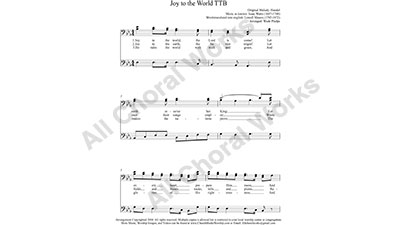 Joy to the World Male Choir Sheet Music TBB 3-part Make unlimited copies of sheet music and the practice music.