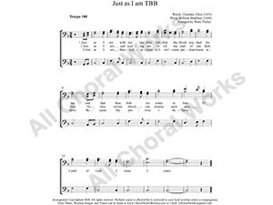 Just as I am Male Choir Sheet Music TBB 3-part Make unlimited copies of sheet music and the practice music.