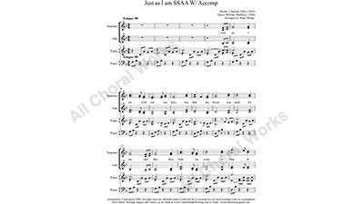 Just as I am with Piano Female Choir Sheet Music SSAA 4-part Make unlimited copies of sheet music and the practice music.