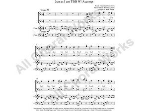 Just as I am w/ Piano Male Choir Sheet Music TB 2-part Make unlimited copies of sheet music and the practice music.