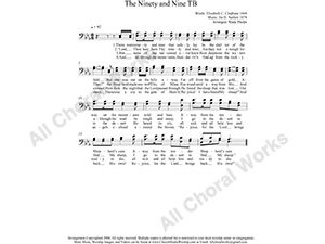 Ninety and Nine Male Choir Sheet Music TB 2-part Make unlimited copies of sheet music and the practice music.