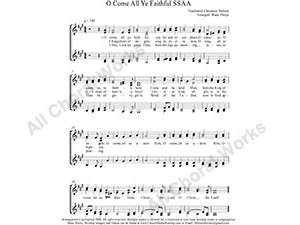 O Come all Ye Faithful Female Choir Sheet Music SSAA 4-part Make unlimited copies of sheet music and the practice music.
