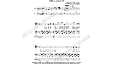 O Holy Night with Piano Female Choir Sheet Music SSA 3-part Make unlimited copies of sheet music and the practice music.