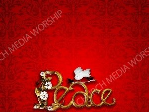 Peace in gold letters red matte with dove Christian Worship Background. High quality worship images for use to spread the Gospel and enhance the worship experience.