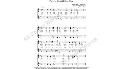 Purer in Heart O God Female Choir Sheet Music SSA 3-part Make unlimited copies of sheet music and the practice music.