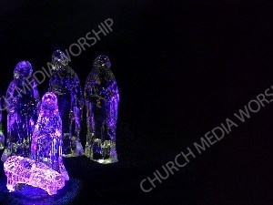Purple Glass Nativity Christian Worship Background. High quality worship images for use to spread the Gospel and enhance the worship experience.
