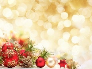 Red Christmas Ornaments Golden Bokeh Christian Worship Background. High quality worship images for use to spread the Gospel and enhance the worship experience.
