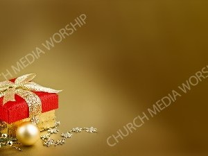 Red Christmas gift gold bow and matte Christian Worship Background. High quality worship images for use to spread the Gospel and enhance the worship experience.