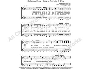 Redeemed How I Love To Proclaim It Female Choir Sheet Music SSA 3-part Make unlimited copies of sheet music and the practice music.