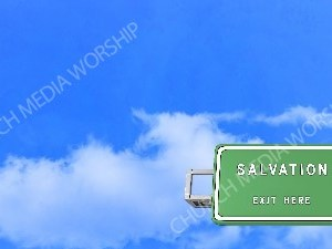 Road sign right Salvation Christian Worship Background. High quality worship images for use to spread the Gospel and enhance the worship experience.