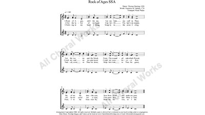 Rock of Ages Female Choir Sheet Music SSA 3-part Make unlimited copies of sheet music and the practice music.