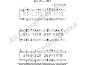 Rock of Ages Male Choir Sheet Music TTBB 4-part Make unlimited copies of sheet music and the practice music.