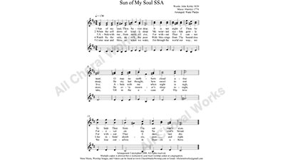 Sun of My Soul Female Choir Sheet Music SSA 3-part Make unlimited copies of sheet music and the practice music.