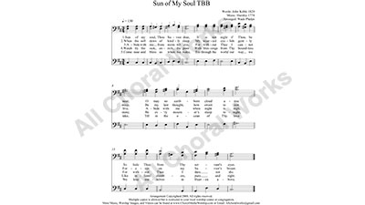 Sun of My Soul Male Choir Sheet Music TBB 3-part Make unlimited copies of sheet music and the practice music.