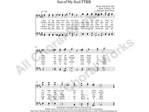 Sun of My Soul Male Choir Sheet Music TTBB 4-part Make unlimited copies of sheet music and the practice music.