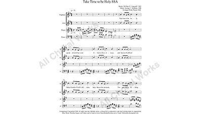 Take Time to be Holy with Piano Female Choir Sheet Music SSA 3-part Make unlimited copies of sheet music and the practice music.