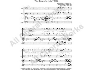 Take Time to be Holy with Piano Male Choir Sheet Music TTBB 4-part Make unlimited copies of sheet music and the practice music.