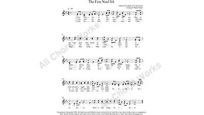The First Noel Female Choir Sheet Music SA 2-part Make unlimited copies of sheet music and the practice music.