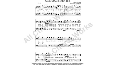 Wonderful Words of Life Male Choir Sheet Music TBB 3-part Make unlimited copies of sheet music and the practice music.
