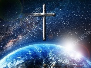 Jesus overlooking the World Chrome cross Christian Worship Image. High quality worship images for use to spread the Gospel and enhance the worship experience.