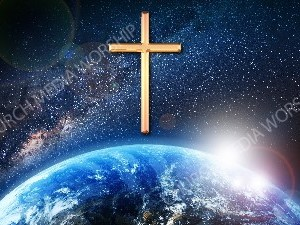 Jesus overlooking the World gold cross Christian Worship Image. High quality worship images for use to spread the Gospel and enhance the worship experience.