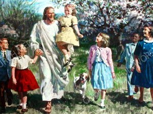 Jesus walks with children Christian Worship Image. High quality worship images for use to spread the Gospel and enhance the worship experience.