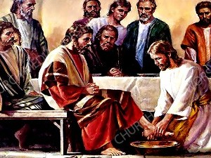 Jesus washes the feet V2 Christian Worship Image. High quality worship images for use to spread the Gospel and enhance the worship experience.