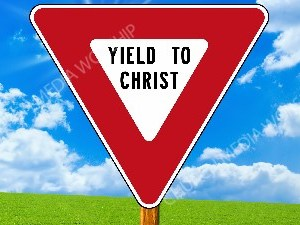 Yield to Christ Christian Worship Image. High quality worship images for use to spread the Gospel and enhance the worship experience.
