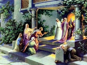 parable of Virgins Christian Worship Image. High quality worship images for use to spread the Gospel and enhance the worship experience.