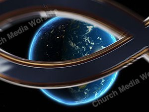 Jesus Fish over the earth Christian Animated Still A professional animated intro that's stops on a still image without continuous movements or distraction.
