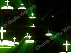 Bible Cross Green Christian Worship Loop Video Perfectly timed for no glitches in 1080P HD. Room for lyrics