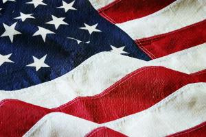 American Flag with Canvas Texture