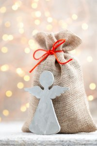 Gift bag with Christmas gifts. Christmas Decor.