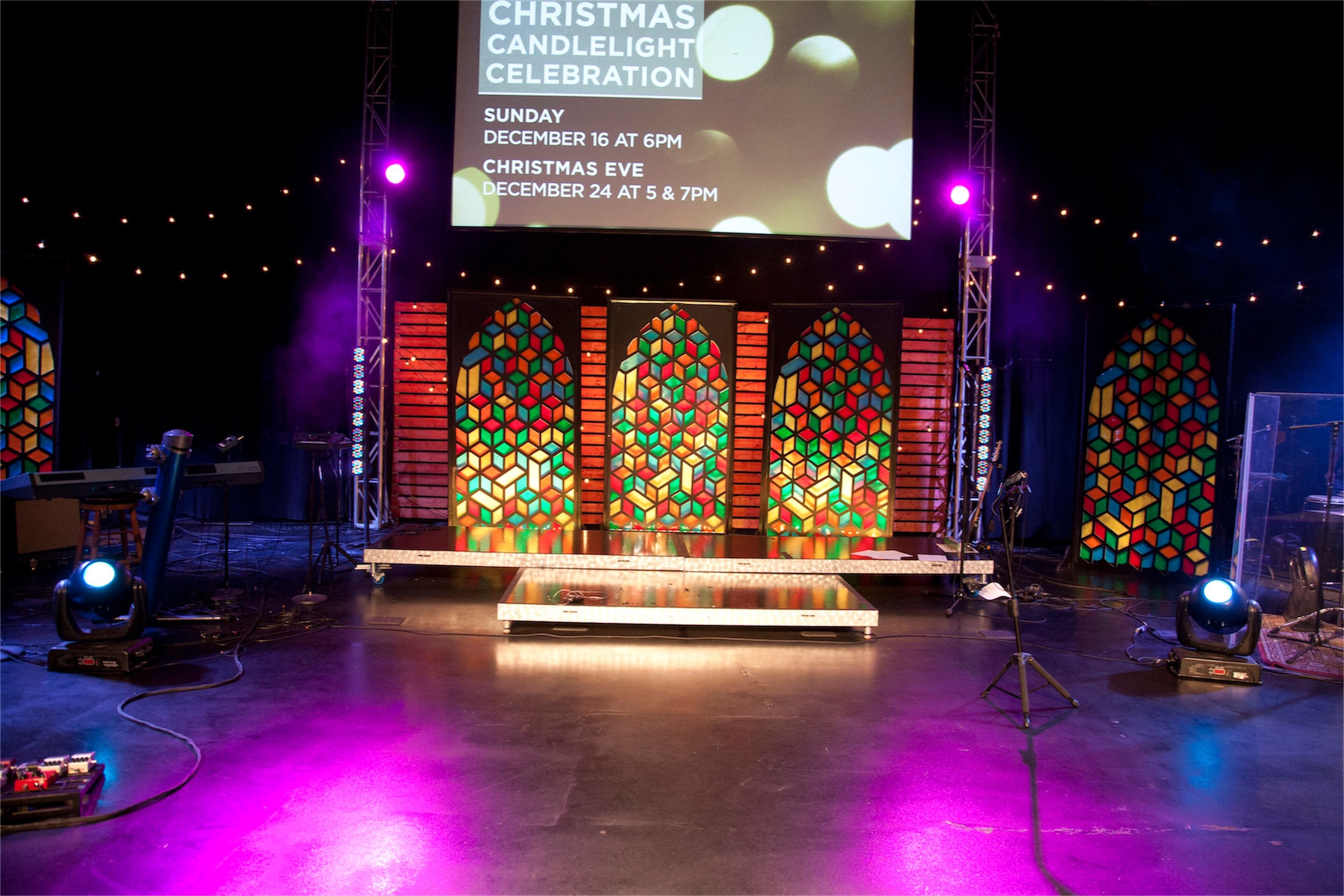 Cubist Stained Glass Church Stage Design Ideas