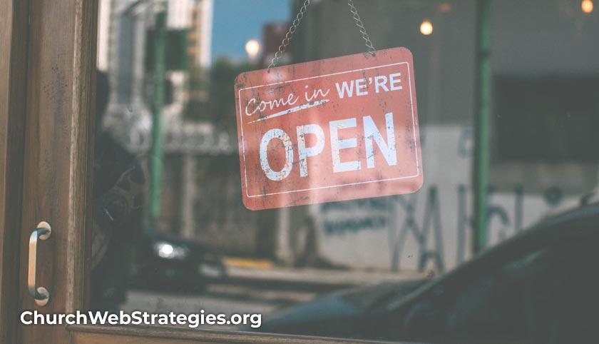 open sign in door window