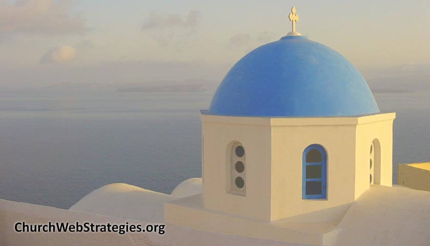 Top of church along the Greek coastline