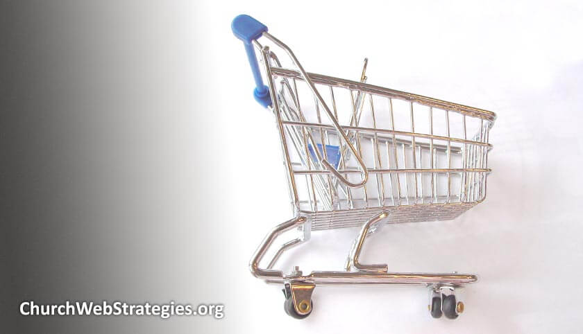 model of shopping cart laying on its side